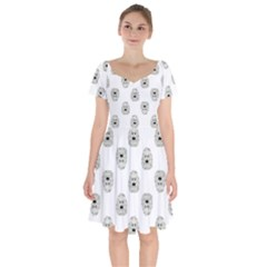 Angry Theater Mask Pattern Short Sleeve Bardot Dress