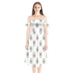 Angry Theater Mask Pattern Shoulder Tie Bardot Midi Dress
