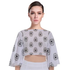 Angry Theater Mask Pattern Tie Back Butterfly Sleeve Chiffon Top