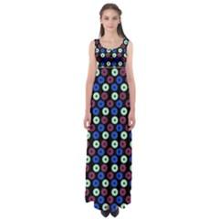 Eye Dots Blue Magenta Empire Waist Maxi Dress