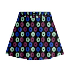 Eye Dots Blue Magenta Mini Flare Skirt