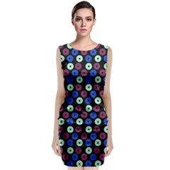 Eye Dots Blue Magenta Sleeveless Velvet Midi Dress by snowwhitegirl