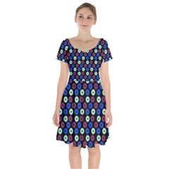 Eye Dots Blue Magenta Short Sleeve Bardot Dress
