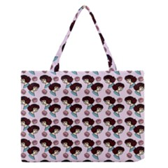 Redhead Girl Pink Zipper Medium Tote Bag