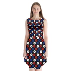 Eye Dots Red Blue Sleeveless Chiffon Dress