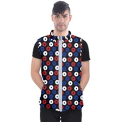 Eye Dots Red Blue Men s Puffer Vest by snowwhitegirl