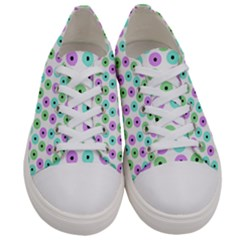 Eye Dots Green Violet Women s Low Top Canvas Sneakers