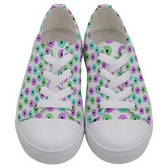 Eye Dots Green Violet Kids  Low Top Canvas Sneakers