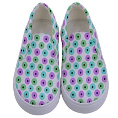 Eye Dots Green Violet Kids  Canvas Slip Ons