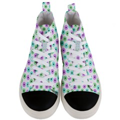 Eye Dots Green Violet Men s Mid Top Canvas Sneakers