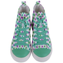 Eye Dots Green Violet Women s Mid Top Canvas Sneakers