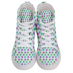 Eye Dots Green Violet Women s Hi Top Skate Sneakers