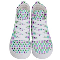 Eye Dots Green Violet Kid s Hi Top Skate Sneakers