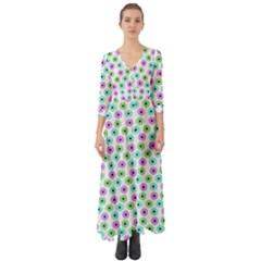 Eye Dots Green Violet Button Up Boho Maxi Dress