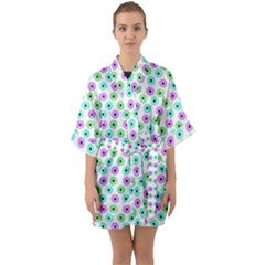 Eye Dots Green Violet Quarter Sleeve Kimono Robe