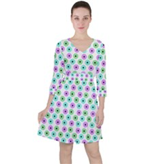 Eye Dots Green Violet Ruffle Dress