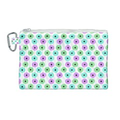 Eye Dots Green Violet Canvas Cosmetic Bag (large)