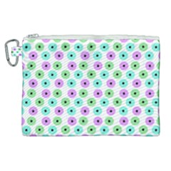 Eye Dots Green Violet Canvas Cosmetic Bag (xl)