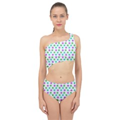 Eye Dots Green Violet Spliced Up Swimsuit