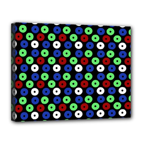 Eye Dots Green Blue Red Canvas 14  X 11
