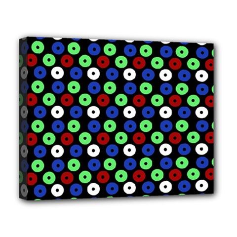 Eye Dots Green Blue Red Deluxe Canvas 20  X 16
