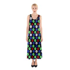 Eye Dots Green Blue Red Sleeveless Maxi Dress