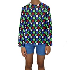 Eye Dots Green Blue Red Kids  Long Sleeve Swimwear