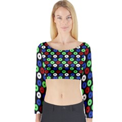 Eye Dots Green Blue Red Long Sleeve Crop Top
