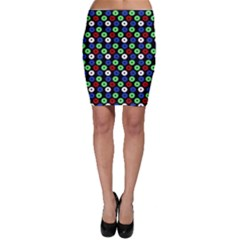 Eye Dots Green Blue Red Bodycon Skirt
