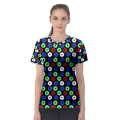 Eye Dots Green Blue Red Women s Sport Mesh Tee