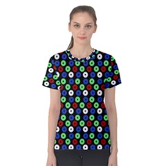 Eye Dots Green Blue Red Women s Cotton Tee