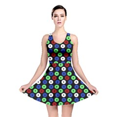 Eye Dots Green Blue Red Reversible Skater Dress