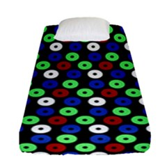 Eye Dots Green Blue Red Fitted Sheet (single Size)
