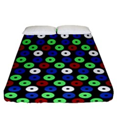 Eye Dots Green Blue Red Fitted Sheet (queen Size)