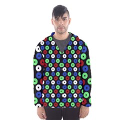 Eye Dots Green Blue Red Hooded Wind Breaker (men)