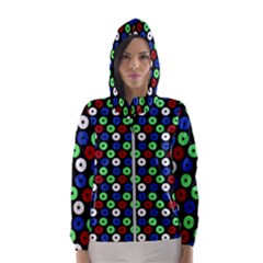 Eye Dots Green Blue Red Hooded Wind Breaker (women)