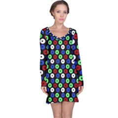 Eye Dots Green Blue Red Long Sleeve Nightdress
