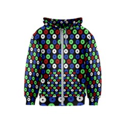 Eye Dots Green Blue Red Kids  Zipper Hoodie