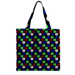 Eye Dots Green Blue Red Zipper Grocery Tote Bag