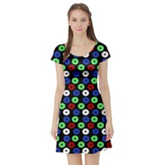 Eye Dots Green Blue Red Short Sleeve Skater Dress