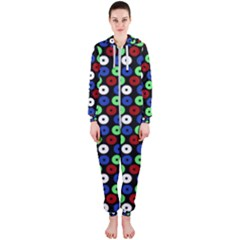 Eye Dots Green Blue Red Hooded Jumpsuit (ladies)