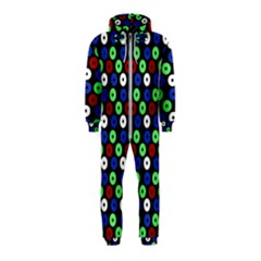 Eye Dots Green Blue Red Hooded Jumpsuit (kids)