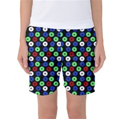Eye Dots Green Blue Red Women s Basketball Shorts
