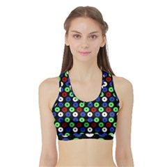 Eye Dots Green Blue Red Sports Bra With Border