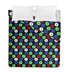 Eye Dots Green Blue Red Duvet Cover Double Side (full/ Double Size)