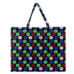Eye Dots Green Blue Red Zipper Large Tote Bag