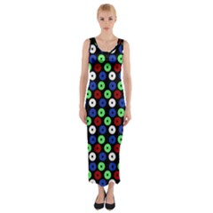 Eye Dots Green Blue Red Fitted Maxi Dress