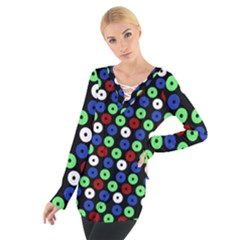 Eye Dots Green Blue Red Tie Up Tee