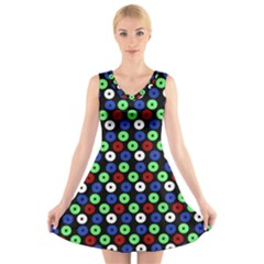 Eye Dots Green Blue Red V Neck Sleeveless Dress