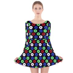 Eye Dots Green Blue Red Long Sleeve Velvet Skater Dress